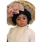 Antique 14 inch Simon Halbig 1368 Black Bisque Character Doll Circa 1910 No damage