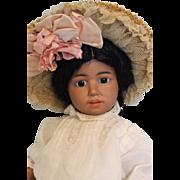 Antique 14 inch Simon Halbig 1368 Black Bisque Character Doll Circa 1910 No damage