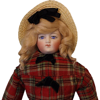 Antique 14 inch 1885 Ptd Eye French Fashion Doll All Original Clothes, slip, boots