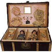 5 inch All Bisque Kestner 150 Twin dolls in trunk Extra dresses, jewelry, toiletries