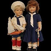 Vintage Felt R. John Wright 20 inch Lillian and Arthur Dolls 1987 Classic Childhood