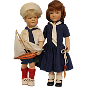 Vintage Felt R. John Wright 20 inch Lillian and Arthur Dolls 1987 Classic Childhood