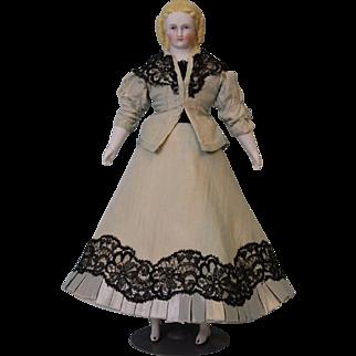 11-1/2 inch Blonde Parian Doll Alt Beck Gottschalck 10 sausage curls Blue eyes 1860s