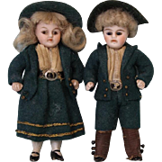 3.5 inch All Bisque Dollhouse Girl & Boy dolls all original Clothes & Wigs Ca.1910