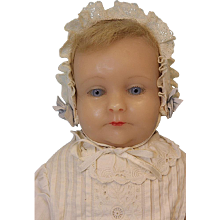 20 inch Poured Wax Gladys MacDowell doll Blue glass eyes Rose Percy copy 1960s