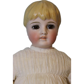 13 inch Kling Bisque Child Doll Glass Eyes Sculpted Hair Open/Closed Mouth circ 1885
