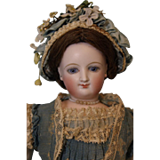 French 15 inch Swivel head Empress Eugenie Smiling Bru Doll Wearing Antique Fashion