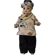 7 inch Asian all bisque doll with Swivel Head Glass eyes Queue braid Chinese costume
