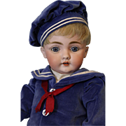 20 Inch Antique Kestner 143 dressed as Sailor Boy German Bisque Doll circa 1879