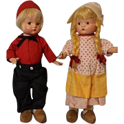 9.5 inch  Effanbee Patsyette Dutch Couple w. All Original Outfits, Wood Clogs, 1936