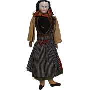 9 inch China Head Lady in Ethnic costume 8 Sausage Curls, Wood Arms & Cloth Body