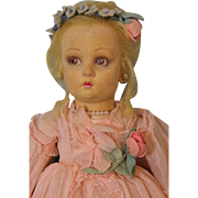 13 inch Lenci Madame de Pompadour, Felt roses on dress, in hair, Organdy dress, slip