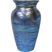 8 inch American Durand Blue Lustre Threaded Art Glass Vase circa 1925 Iridescent