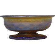 2.5 inch American Tiffany Studios Favrile Iridescent Gold Art Glass Bowl c.1910