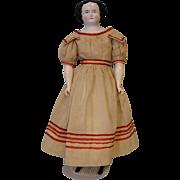 Antique 23 Inch German China head Doll Nice Antique Dress circa 1865