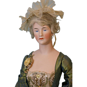14-1/2 inch Antique German bisque Half Doll Candy Container Sophisticated Lady doll