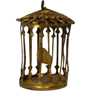 "Miniature Antique Brass Bird cage 1-3/4 tall, 3"" circumferece, 1"" wide Ca.1920"