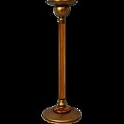 12 inch Louis Comfort Tiffany Furnaces brass & Enamel, Amber Glass candlestick L 41