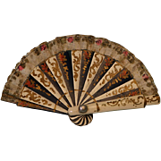"Antique Miniature Hand Fan Painted wood Ribbon trim 1-7/8"" X 3-3/8"" for Doll"