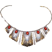 16 inch Native American Sterling silver and Coral Necklace Signed 9 Binkin
