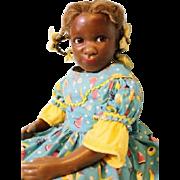 "16 inch Black Wax girl w.cloth body ""Tuesday"" NIADA ARTIST Gladys MacDowell 1950's"