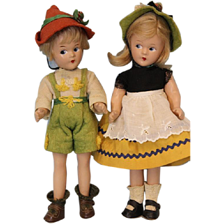 """Two 9 inch Tagged c.1930's Madame Alexander """"Swiss"""" Brother/Sister Tiny Betty Face"""