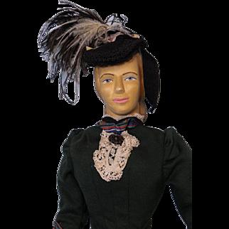 """18 inch carved wood art doll """"CAROLINE 1889"""" HELEN BULLARD signed 1967 NIADA artist"""