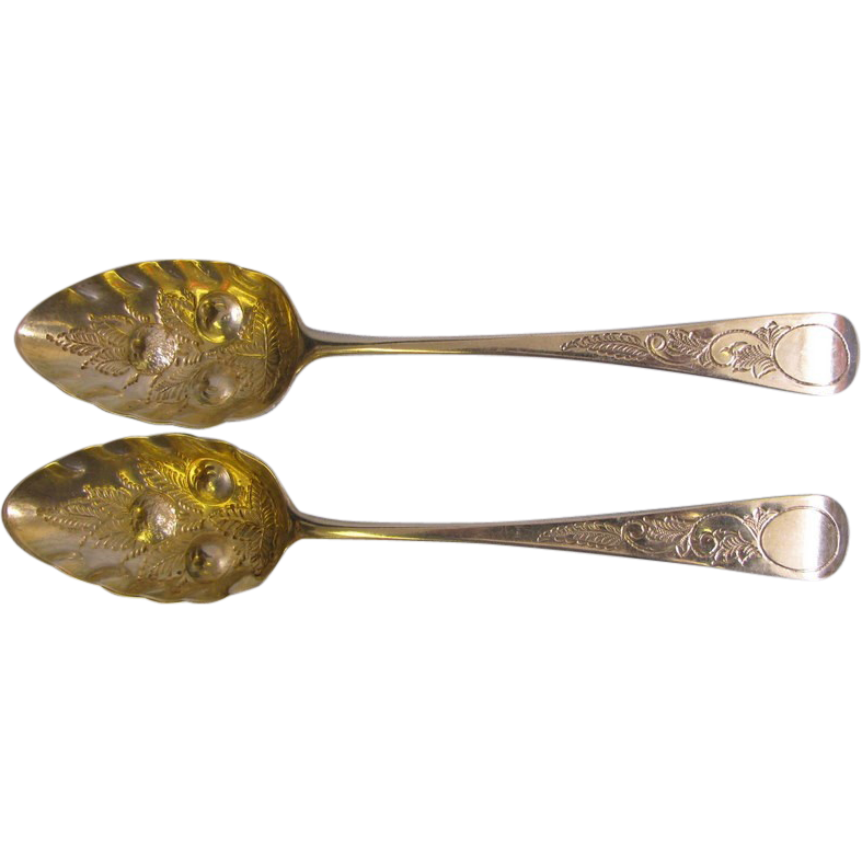 2 George III 1786 to 1821 Large Sterling Fancy Serving Spoons