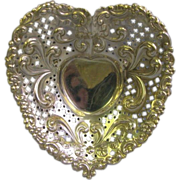 Elaborate Gorham Sterling Heart Shape dish for dresser, nuts, mints or trinkets