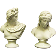 Two Busts, 1 Belleek 10.5 inch Sorrow Bust Green Stamp Glazed Pedestal  Bust