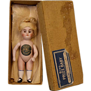 4.5 inch Early  All Bisque Doll PRIZE BABY with original chest Label Wig and Box