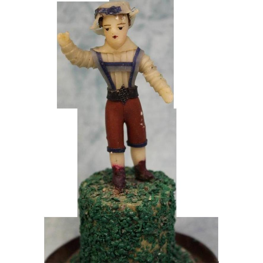7.5 inch antique Folk ART Hand Made Bees Wax Little Boy in DOME c1850 All Original