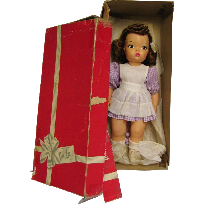 1955 Terri Lee 18 inch Doll in number 3510 F Gingham Play Dress and Orangdy Pinafore