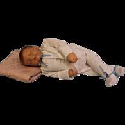 19 inch Sleeping Traumerchen Kathe Kruse Sand Baby Doll c.1940s Feels Real.