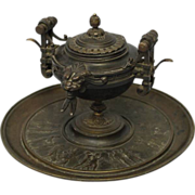 5.75 inch by 7.75 inch Antique Etruscan Bronze c1900 Ink Well and Stand and Brass BELL Pedesta