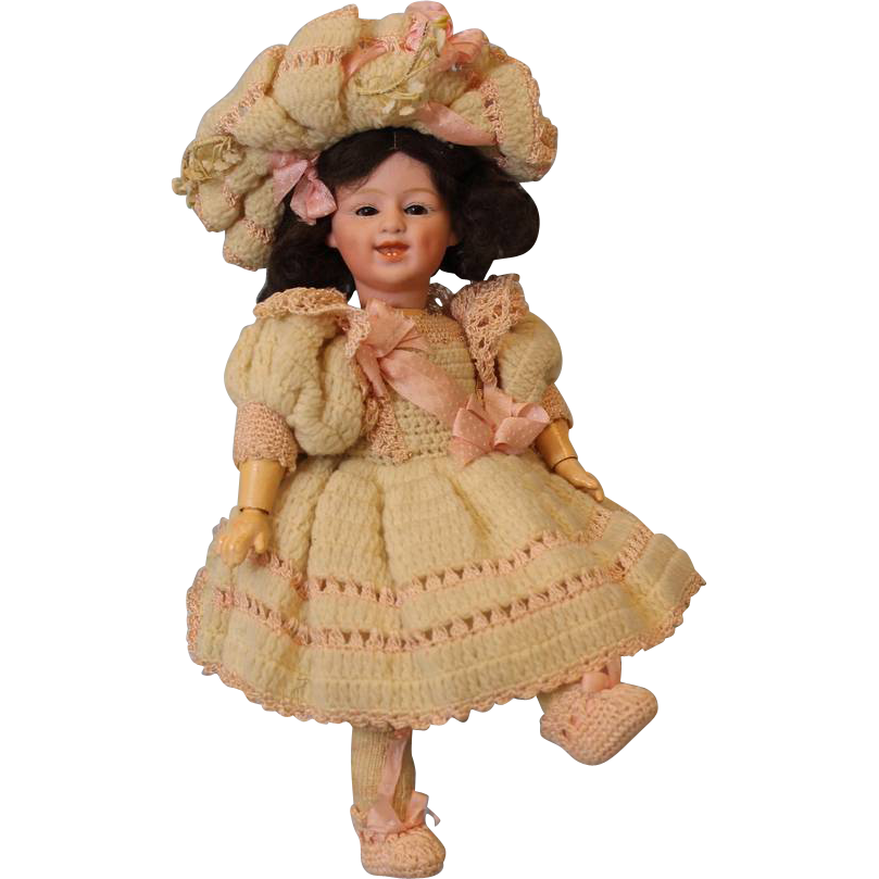 11 inch Antique Gebruder Heubach glass eyed Laughing German Bisque Doll Original Clothes