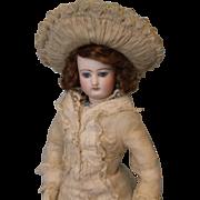 Antique All Original 17 inch Jumeau French Fashion Doll c.1870 DRESS, SLIP, Jewelry