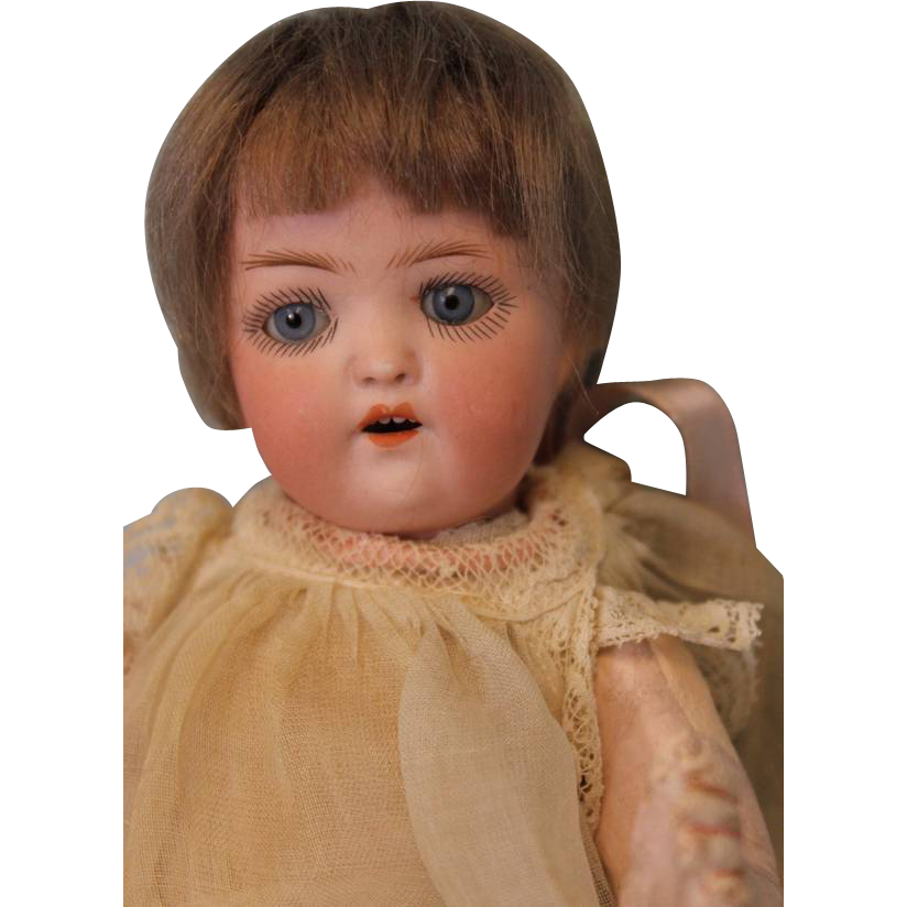 Antique 7 inch German bisque breather Doll All Original baby by Heubach Koppelsdorf