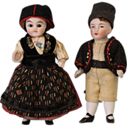 c.1900 TWO Antique all bisque dolls Brother & Sister Dressed Cute JTD Girl & Boy