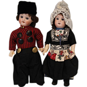 c.1920's 7.5 inch Antique Bisque Dutch Dolls Herm Steiner Original Clothes Germany