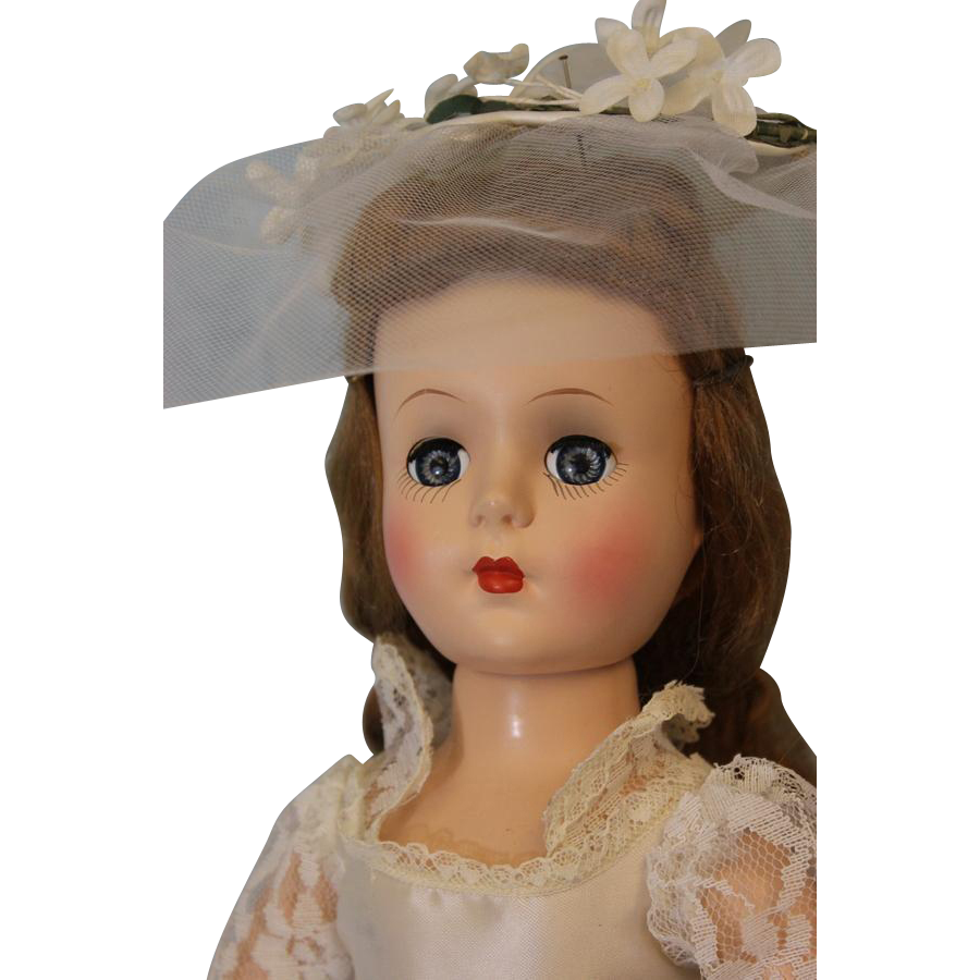 1950 18 inch Roberta Doll Company Bride Hard Plastic Walker Head turns side to side