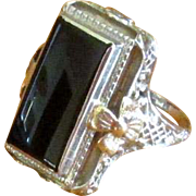 14K White Gold Art Deco Ring with Black Onyx Stone