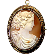 Large 10K Rose Gold Cameo Pin/Pendant