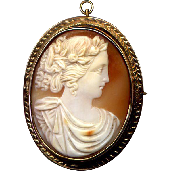 Large 10k rose gold cameo pin pendant from turtlecreek on for Best place to sell gold jewelry in chicago