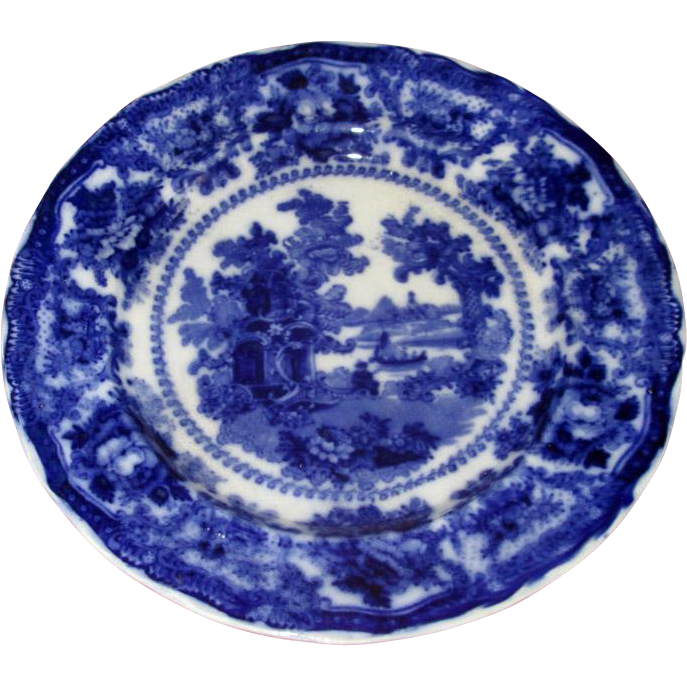 "English Flow Blue ""China"" 9"" Plate"