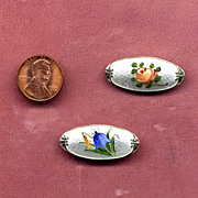 Pair of Sterling Silver Enamel Floral Pins