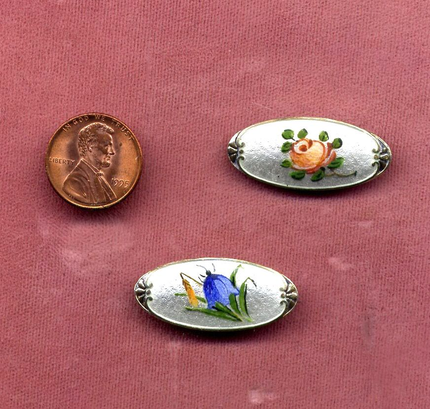 Pair Of Sterling Silver Enamel Floral Pins From