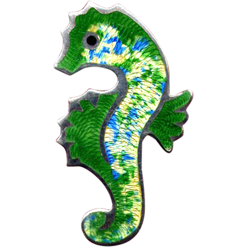 Mexican Sterling and Green Enamel Seahorse Pin