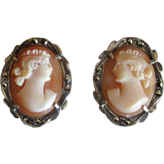 Silver and Marcasite Clip Earrings with Cameos
