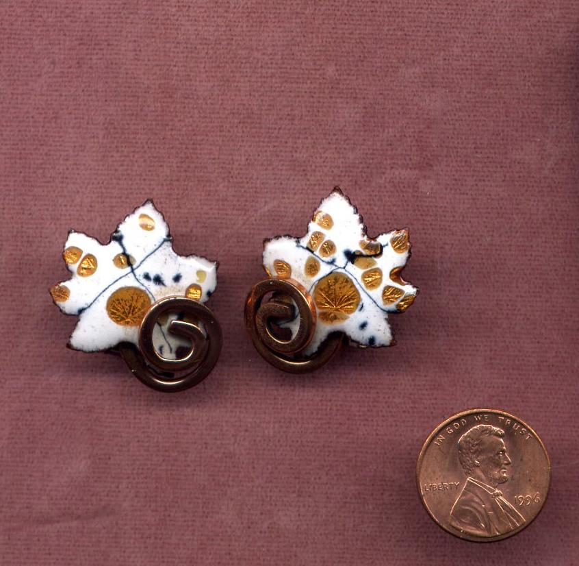 "Copper Enamel Leaf Clip Earrings signed ""Matisse"""